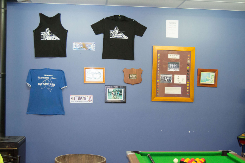Border Run merchandise proudly on display.